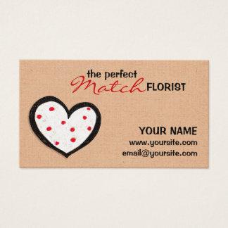 Dotty Hearts kraft Florist Business Card