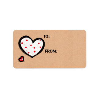 Dotty Hearts kraft Gift Tag Sticker Label