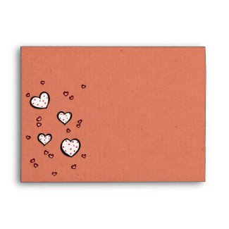 Dotty Hearts kraft red A7 Envelope envelope