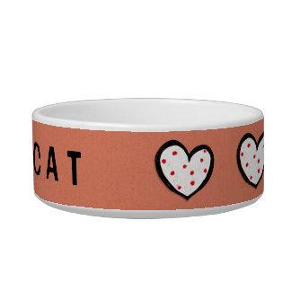 Dotty Hearts kraft red Cat Bowl
