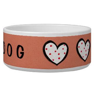 Dotty Hearts kraft red Dog Bowl