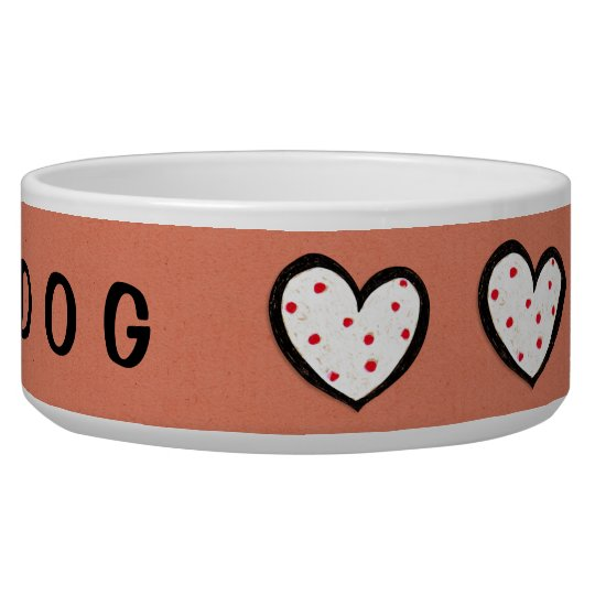 Dotty Hearts kraft red Dog Bowl