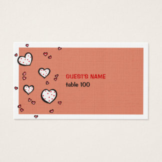 Dotty Hearts kraft red Place Card