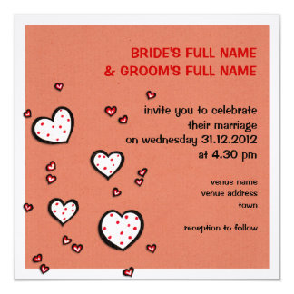 Dotty Hearts kraft red Square Wedding Invitation