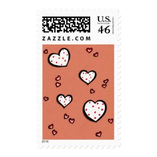 Dotty Hearts kraft red Stamp stamp