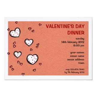 Dotty Hearts kraft red Valentine's Day Dinner 5x7 Paper Invitation Card