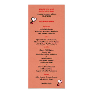 Dotty Hearts kraft red Wedding Menu Card