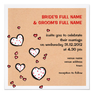 Dotty Hearts kraft Square Wedding Invitation