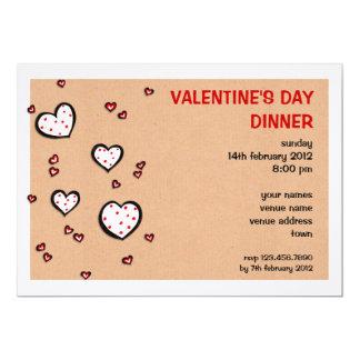 Dotty Hearts kraft Valentine's Day Dinner Invite