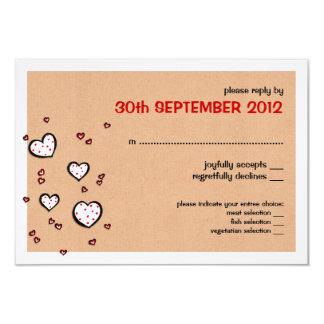 Dotty Hearts kraft Wedding RSVP Card