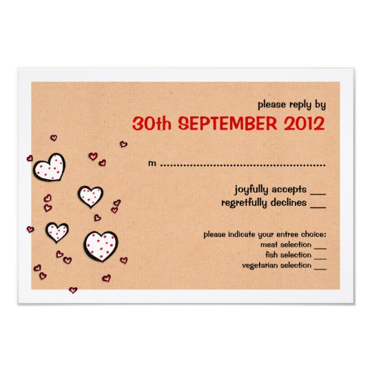 Dotty Hearts kraft Wedding RSVP Card