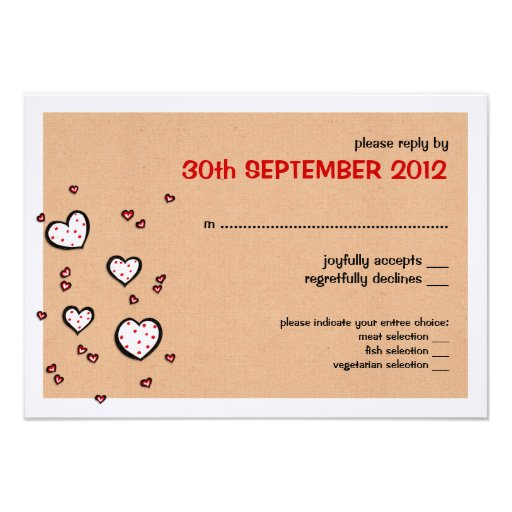 Dotty Hearts kraft Wedding RSVP Card Personalized Announcements