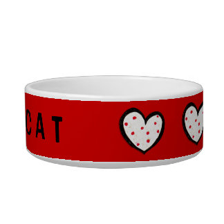 Dotty Hearts red Cat Bowl