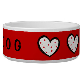 Dotty Hearts red Dog Bowl