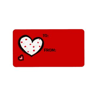 Dotty Hearts red Gift Tag Sticker label