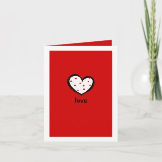 Dotty Hearts red Love Note Card card