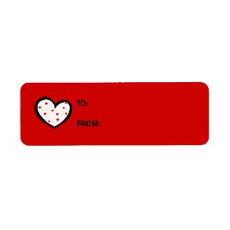 Dotty Hearts red Small GIft Tag Sticker label