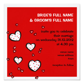 Dotty Hearts red Square Wedding Invitation