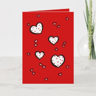 Dotty Hearts red Valentine's Day Card card