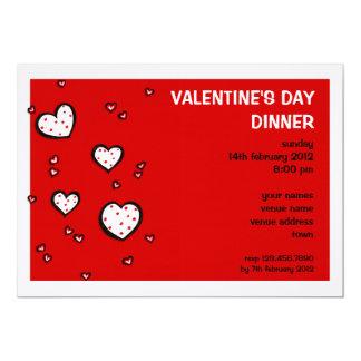 Dotty Hearts red Valentine's Day Dinner Invitation