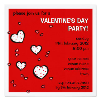 Dotty Hearts red Valentine's Day Party Invite