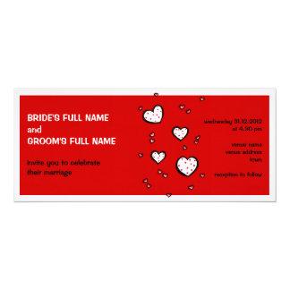 Dotty Hearts red Wedding Invitation