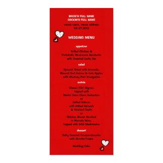 Dotty Hearts red Wedding Menu Card