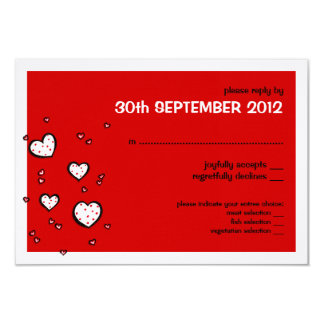 Dotty Hearts red Wedding RSVP Card
