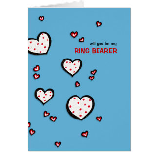 Dotty Hearts turquoise Be My Ring Bearer Card