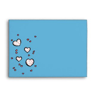 Dotty Hearts turquoise red A7 Card Envelope envelope