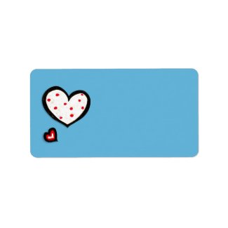 Dotty Hearts turquoise red Address Label label