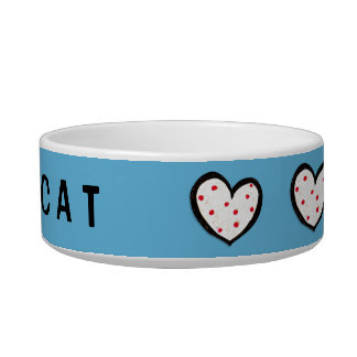 Dotty Hearts turquoise red Cat Bowl