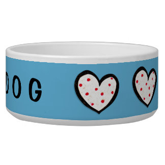 Dotty Hearts turquoise red Dog Bowl