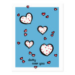 Dotty Hearts turquoise red Dotty Over You Postcard