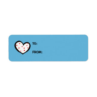 Dotty Hearts turquoise red Small GIft Tag Sticker Label