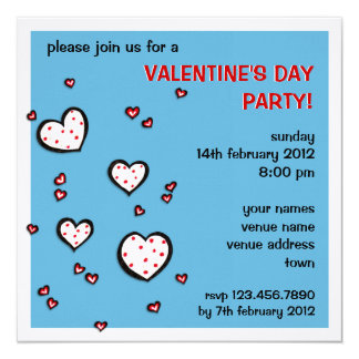 Dotty Hearts turquoise red Valentine Party Invite