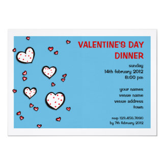 Dotty Hearts turquoise red Valentine's Day Dinner 5x7 Paper Invitation Card