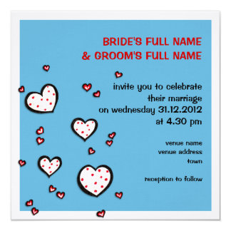 Dotty Hearts turquoise Square Wedding Invitation