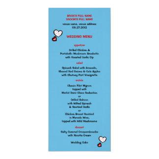 Dotty Hearts turquoise Wedding Menu Card
