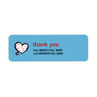 Dotty Hearts turquoise Wedding Thank You Sticker