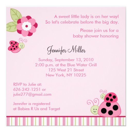 dotty ladybug custom baby shower invitations square invitation