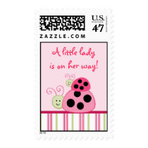 Dotty Ladybug Custom Postage Stamps Its A Girl