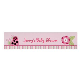Dotty Ladybug Personalized Baby Shower Banner Poster