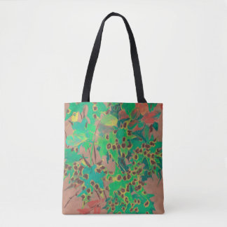 Dotty leaves, autumn floral, green, yellow & brown tote bag