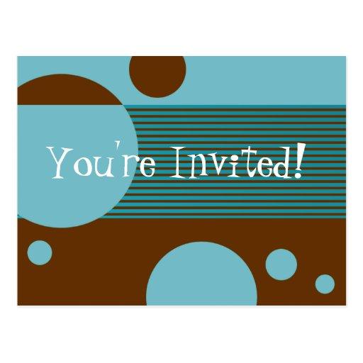 Dotty Lines Invitation (aqua/brown) Postcard