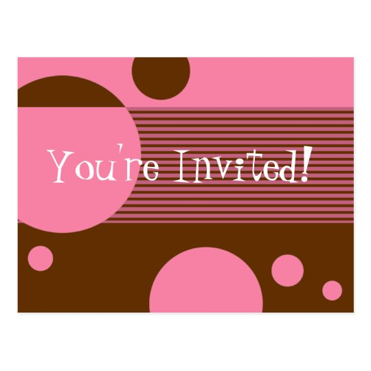 Dotty Lines Invitation (cherry/brown) Postcard
