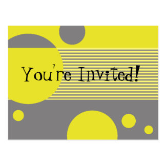 Dotty Lines Invitation (lemon/grey) Postcard