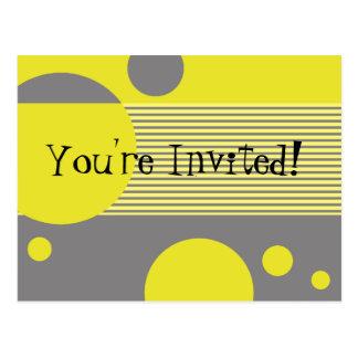 Dotty Lines Invitation (lemon/grey) Postcard