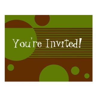 Dotty Lines Invitation (olive/brown) Postcard