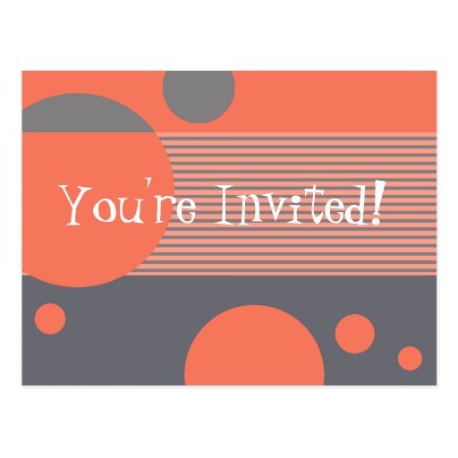 Dotty Lines Invitation (peach/grey) Postcard